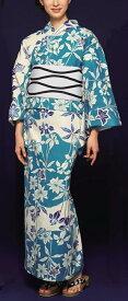 浴衣(ゆかたyukata) 源氏物語浴衣(ゆかた) 紅型調 手縫い仕立て付き 19019 麻30%・綿70% (染色方法・注染) (仕立て無しの反物のみも可) [送料無料]