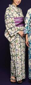 浴衣(ゆかたyukata) 源氏物語浴衣(ゆかた) 紅型調 手縫い仕立て付き 19020 麻30%・綿70% (染色方法・注染) (仕立て無しの反物のみも可) [送料無料]