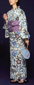 浴衣(ゆかたyukata) 源氏物語浴衣(ゆかた) 紅型調 手縫い仕立て付き 19022 麻30%・綿70% (染色方法・注染) (仕立て無しの反物のみも可) [送料無料]