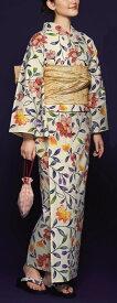 浴衣(ゆかたyukata) 源氏物語浴衣(ゆかた) 紅型調 手縫い仕立て付き 19023 麻30%・綿70% (染色方法・注染) (仕立て無しの反物のみも可) [送料無料]