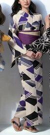 [送料無料]浴衣(ゆかたyukata) 源氏物語浴衣(ゆかた) 麻と綿の布 手縫い仕立て付き 20019 麻30%・綿70% (染色方法・注染) (仕立て無しの反物のみも可)
