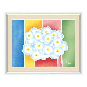 絵画 春田あかり はるた あかり ちょっと気になる植物たち 青い花の鉢植え F6 52×42cm アート額絵 G4-CG004額入り 額装込 リビング インテリア アートパネル おしゃれ 玄関 贈り物 お返し 出産 結