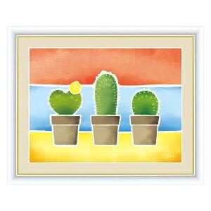 絵画 春田あかり はるた あかり ちょっと気になる植物たち サボテンの鉢植え F6 52×42cm アート額絵 G4-CG006額入り 額装込 リビング インテリア アートパネル おしゃれ 玄関 贈り物 お返し 出産