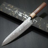 牛刀210mm包丁ダマスカス粉末ステンレスハイススーパーゴールド2磨き仕上げジャラ柄義実作越前打刃物