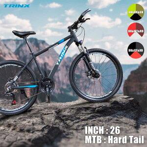 【送料無料】【マウンテンバイク】2021年新モデル ダブルディスクSHIMANO 21段変速超軽量アルミAL6061マウンテンバイクMTB ブロックタイヤ 26インチハードテールかっこいいTRINX M136-21