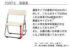 折りたたみ椅子CF67-MS_SH300S_X1座高300mmパイプ椅子低座イスアルミ脚粉体塗装パッドなし