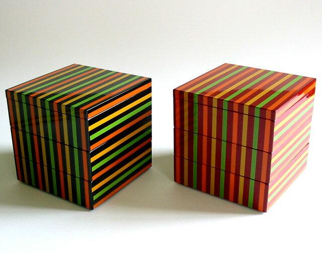 重箱 3段 独楽ライン |モダンでおしゃれな三段の小さいお重箱 運動会や花見のお弁当(弁当箱)に 漆器