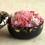 プリザーブドフラワー花スイーツ黒|漆塗りのボンボニエールにカーネーションのプリザーブドフラワーを入れたギフト母の日の贈り物に和雑貨漆器