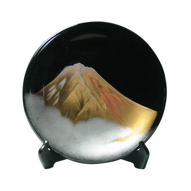 飾り皿 黒 金富士 木製漆塗りの絵皿 海外への贈り物や開業・開店・就任・お祝いのギフトに インテリア 漆器