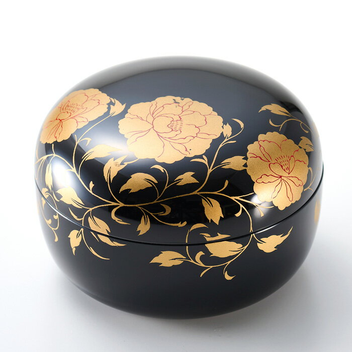 ボンボニエール 華唐草 黒(日本製)漆塗りのお菓子入れ(菓子鉢)結婚祝い、引き出物、内祝い、お祝いのお返し、外国人へのお土産に 京都 漆器