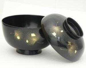 煮物椀 沈金飛花 黒|(日本製)木製漆塗りの蓋付きのお椀(木のお椀)お正月のお雑煮に 京都 漆器