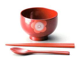 汁椀 うめ お子様用箸スプーンセット(日本製)漆塗りの子供用の味噌汁椀セット(子ども用食器)和食器 漆器