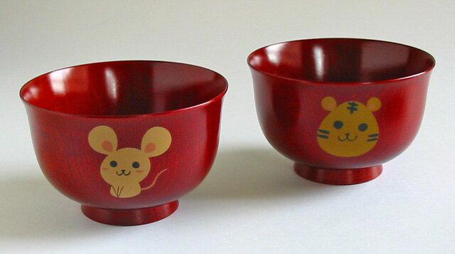 汁椀 干支椀 桜 茜(日本製)漆塗りの子供用の味噌汁椀(子供用食器)和食器 漆器