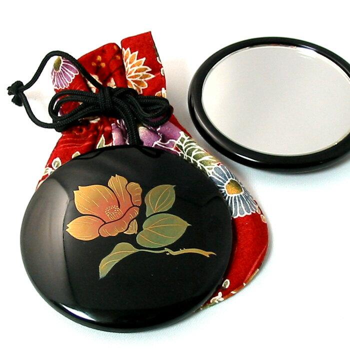 コンパクトミラー プチ手鏡 誕生花 名入れ無料 おしゃれでかわいい蒔絵の高級ミラー 女性の誕生日プレゼント、和のギフトに 漆器