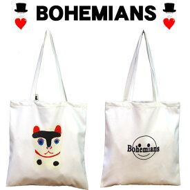 Bohemians (ボヘミアンズ)『コットンサテンバッグ』BHM SMAILE(ボヘミアンズスマイル)KOMANEKO(コマネコ)軽量が魅力のトートバッグ