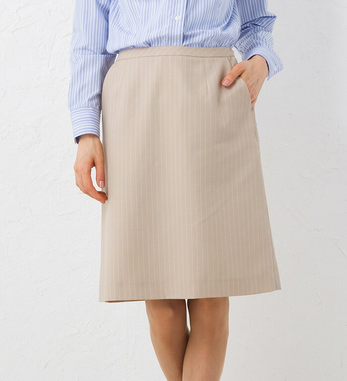 【送料無料】ストライプセミタイトスカート