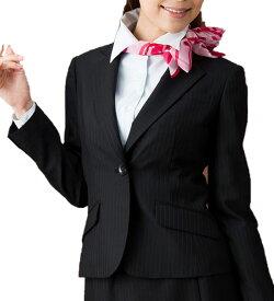 Tio Tio 送料無料! 動き伸びやか♪艶ストライプ1つボタンジャケット 事務服 企業制服 オフィスユニフォーム リクルートスーツ 通勤 入学式 卒業式 ブラックフォーマル お受験にもおすすめ! ジャケット オフィス リクルート スーツ おしゃれ