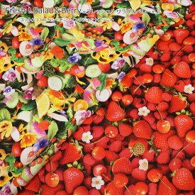 『Fresh!Salad&Berry≪フレッシュ!サラダ&ベリー≫』コットン100%シーチングインクジェットプリント素材:コットン100% 生地幅:約108cmくだもの/さくらんぼ/いちご/トマト/カラフル/入園/入学/小物/ウェアー/ハンドメイド/