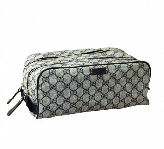 Gucci GUCCI double zipper bag 211125 FP47N 4075 PVC coating fabric X leather (beige / navy)