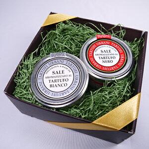ウルバーニ社 白トリュフ塩 黒トリュフ塩 セット 各100g 高級 ギフト ボックス付 イタリア産 プレゼント
