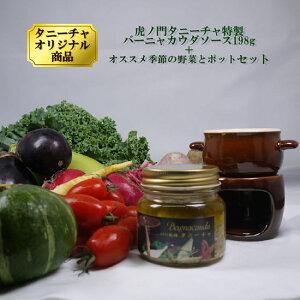 高級 イタリアン レストラン 虎ノ門タニーチャ特製バーニャカウダーソース 198g オススメ季節野菜とポットセット