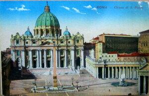 1920年発行のイタリアのローマのサンピエトロ寺院の風景の絵はがきお部屋のインテリアにイタリアのアンティークショップで見つけた絵ハガキと切手と雑貨