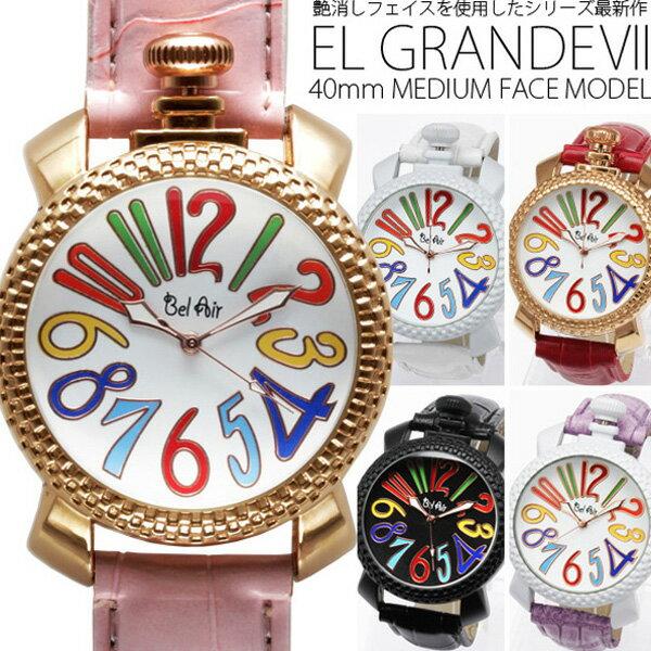 ポイント10倍 送料無料 (定形外郵便配送可能/3個まで) トップリューズ式ミディアムフェイス腕時計 カラフル文字盤40mm GaGa MILANO ガガミラノ好きに PUレザーベルト レディース腕時計 ペアウォッチ (5色)