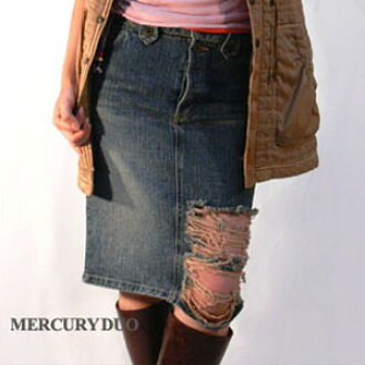National MERCURYDUO damage processing denim skirt (blue) Mercury Duo