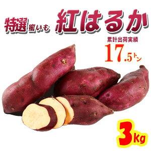 【送料無料】茨城県産 さつまいも 紅はるか 3kg【特Aクラス さつまいも MLサイズ 2020 秋 新芋 土付き お買い得】べにはるか 焼き芋 やきいも 焼芋 サツマイモ さつま芋 プレゼント ギフト 贈答