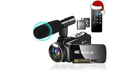 ビデオカメラ4K・YouTubeカメラビデオブログカメラ30MP 18Xデジタルズーム3インチIPSスクリーン270度回転可能 マイク+リモコン+2個バッテリーカムコーダー