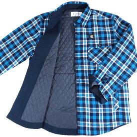 カプリ シャツジャケット 中綿 長袖 メンズ カジュアル 男性 ブルー M/L/LL サイズ 秋冬 紳士 ファッション