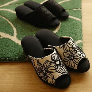 《日本製》ヒールスリッパ フロッキーフラワー S/フリーサイズ フォーマル(ホワイト、ブラック)入学式 卒業式 学校行事 花柄 室内履き かわいい 北欧風 日本製   通年用