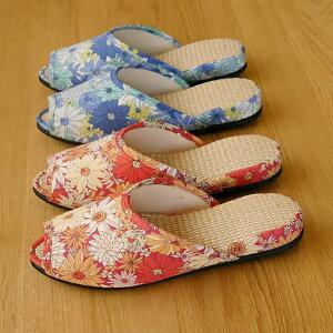 おしゃれ lowヒールスリッパ Itフラワー 麻中 レディースサイズ S/フリーサイズ フォーマル(レッド、ブルー)かっこいい シンプル 前開き 室内履き かわいい 日本製 夏用