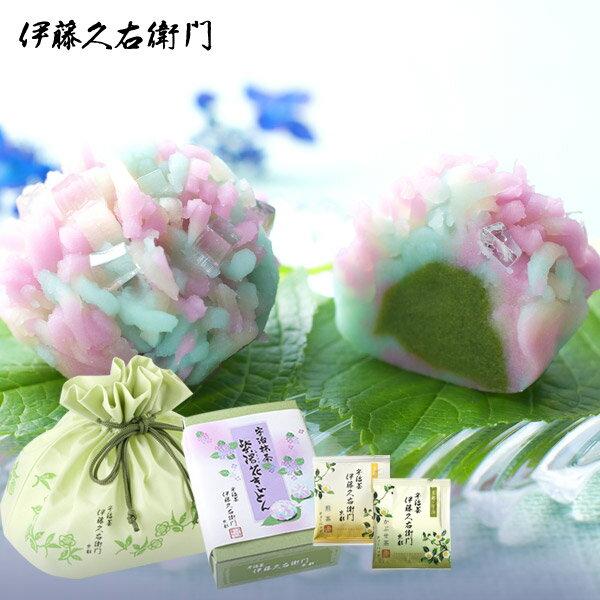 [冷凍]【送料込み】紫陽花きんとん6個 煎茶とかぶせ茶TBセット §父の日 上生菓子