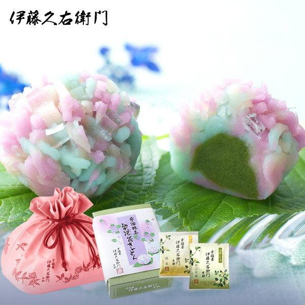 [冷凍]【送料込み】紫陽花きんとん6個 煎茶とかぶせ茶TBセット §