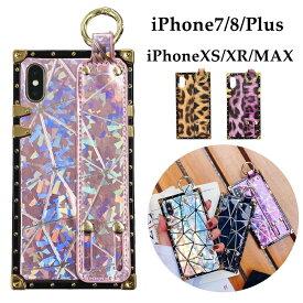 iPhone ケース スクエア型 iphone xr ケース リング付き iphone xs ケース iphone xs maxケース iPhone7/8 Plus ケース ジオメトリ柄 スクエアー 四角衝撃保護ケース おしゃれ 可愛い【YUPT】