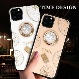 iPhone 12mini promax リング ケース TIMEデザイン iPhone 11 Pro リング スタンド TIMEデザイン ラインストン かわいい iPhone 6/7/8/SE2 ケース かわいい iPhone 11 Pro Max Phone ケース メタリック キラキラ おしゃれ TPU ソフトケース クリアケース【YUPT】
