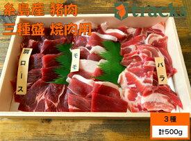 糸島産 猪肉 三種盛 500g 2〜3人前 ジビエ 焼肉用 バーベキュー 食べ比べ 送料無料 糸島ジビエ