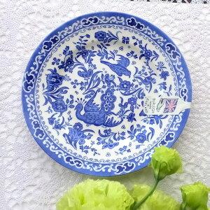 バーレイ ブルー リーガルピーコック プレート 17.5cm 陶器 イギリス製 食器 Burleigh 鳥 花柄 洋食器 青 皿 中皿 丸皿 孔雀 英国