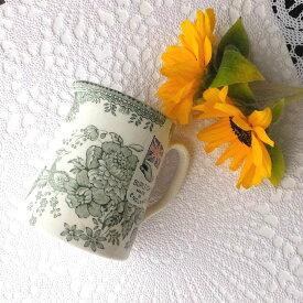 バーレイ グリーン アジアティックフェザンツ タンカードジャグ S 陶器 イギリス製 食器 Burleigh Asiatic Pheasants 花柄 洋食器 高麗キジ 牡丹 緑 ミルクピッチャー