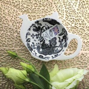 バーレイ ブラック リーガルピーコック ティーポットトレイ 陶器 イギリス製 食器 Burleigh 鳥 洋食器 黒 ギフトボックス入り 小物入れ ティーバッグ入れ