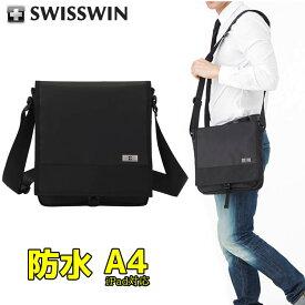 SWISSWIN ショルダーバッグ メンズ ワンショルダーバッグ レディース 男女兼用 ユニセックス A4サイズ ブラック スイスウィン SW9402