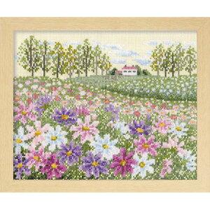 ◆フラワーガーデン「花の咲く風景」 No.7310 コスモスの丘◆クロスステッチキット Olympus/オリムパス/刺しゅうキット/刺繍/手芸