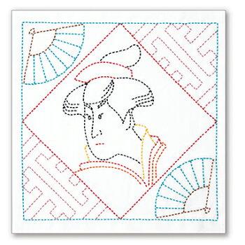 ◆花ふきん浮世絵美人画(UKIYO-EBEAUTY)SK-395◆オリムパス初級図案プリント済み
