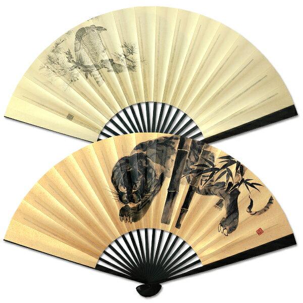 男性用京扇子/ちょっと大きめ紙扇子/黒染/虎・鷹