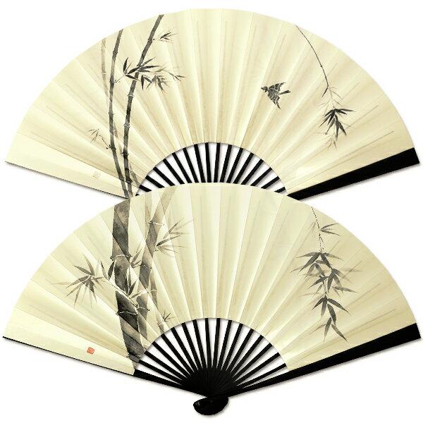 男性用京扇/ちょっと大きめ紙扇子/黒染/竹・雀