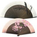 男女ペアー扇子 ペンテ墨竹&桜