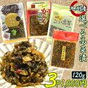 1000円ポッキリ 送料無料 4種から選べる高菜漬け 120g×3袋セット(ゆずこしょう高菜 たかな油炒め 辛子高菜 旨辛から…