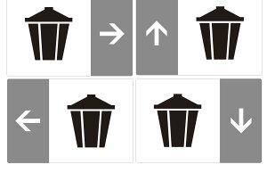 矢印付き 案内 ピクト サイン ステッカー  【 ゴミ置き場 】 矢印 案内 C-3(外国人にもわかりやすいサイン表示)簡単貼り付け ステッカー