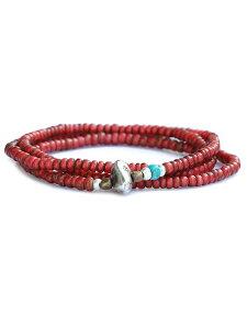 SunKu(サンク・39)【Antique beads necklace&bracelet / アンティーク ビーズ ネックレス&ブレスレット(3連)[SK-204]】[正規品](腕輪/2WAY/ホワイトハート/アンティーク/スターリングシルバー/ブラス/ター